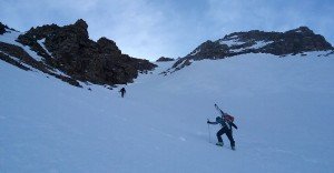 Middle of the couloir. Photo by Natalie