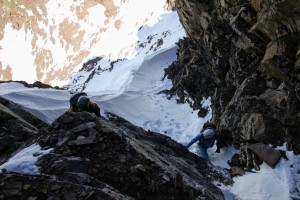 J and Natalie climbing the JP Sneak gully