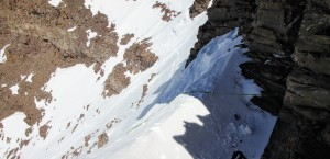 The rope over the steep snow section