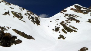 Me skiing down the south side of West Booth Pass on perfect corn. Photo by Ben