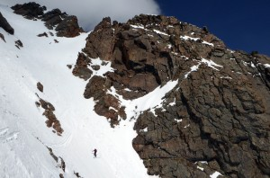 I think this pic makes the couloir appear steeper than it actually is. Photo by Ben