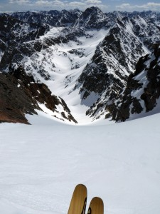 Ben about to go head first into the Straight Arrow Couloir. Photo by Ben