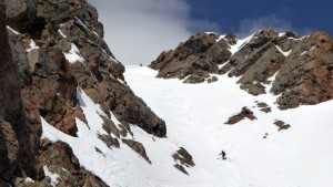 Me loving this couloir while J waits patiently at the top. Photo by Ben