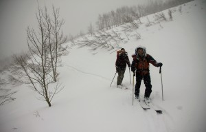 J and Brett on the approach to the Markley Hut