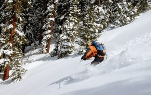J skling the fun trees back down to Difficult Creek