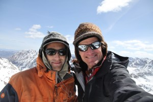 J and I on the summit of Peak H (13,080'). We had only been here once before when we traversed The Saw way back in 2012.