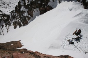 Looking down at Brian at the top of the Straight Arrow Couloir from Peak H's summit