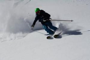 Mr. Gratz testing the snow. Photo by Derek
