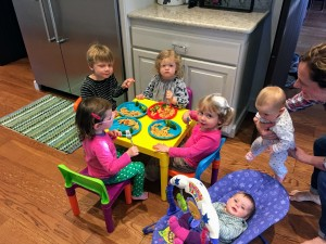 All the kiddos eating dinner