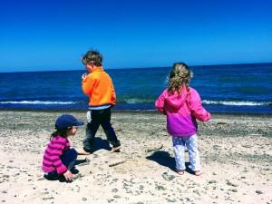 Liv, Liam, & Sawyer gathering rocks to skip on the lake