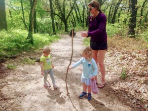 Sawyer finding a walking stick
