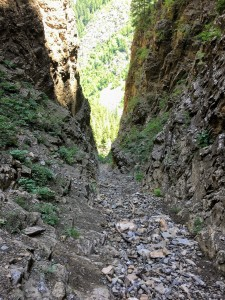 The steep and loose north gully