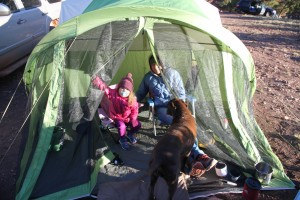 The next morning in the tent vestibule