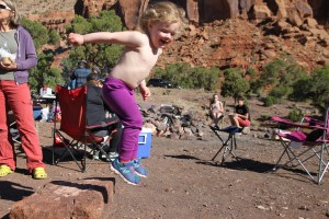 Sawyer displayed her desert energy by jumping off rocks