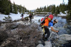 Crossing the northern drainage creek from Hobbs Lake