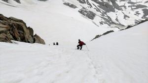 Me climbing above the bergschrund