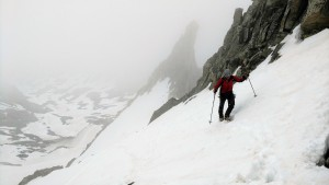 Marsters shot this of me climbing with Gooseneck Pinnacle behind