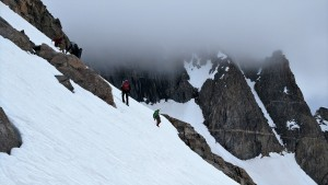 The other team descending down to the bergschrund