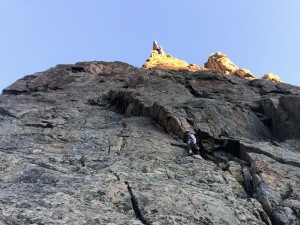 Me leading up the easy 5.6 pitch 2 of the Southwest Corner